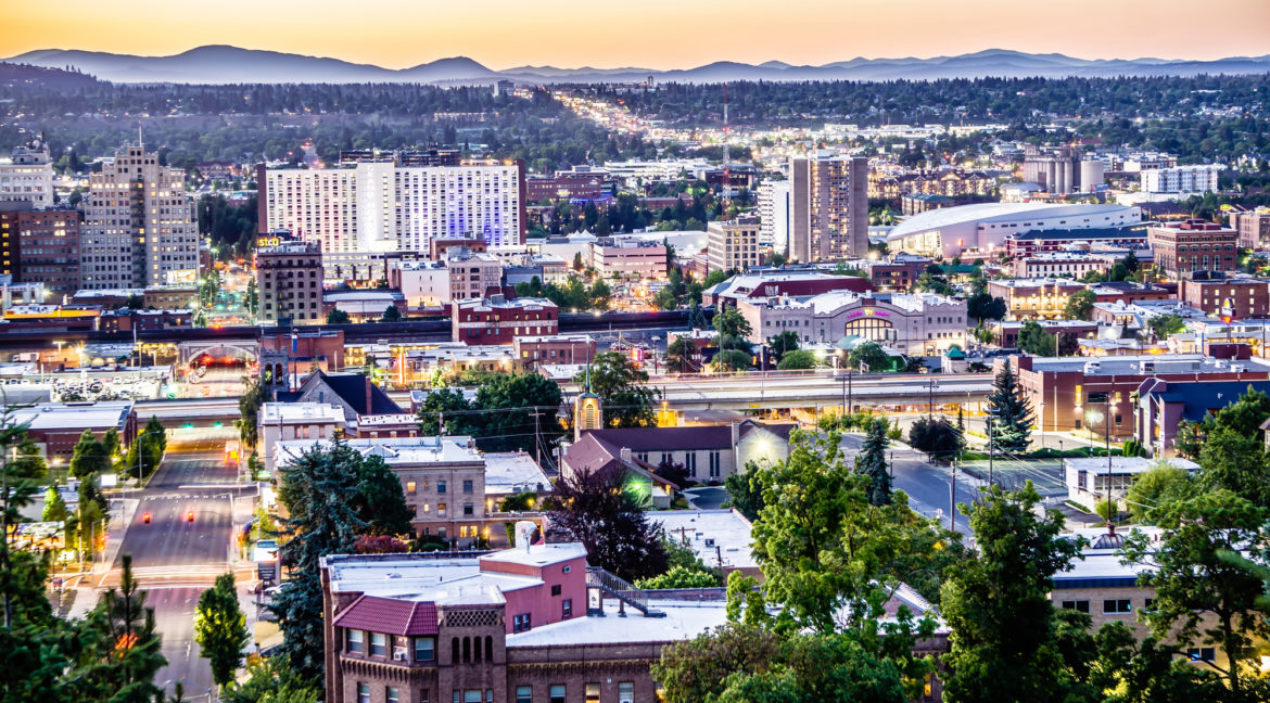 View from downtown Spokane WA